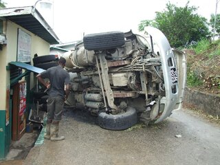 Ready Mix Truck capsizes on Toco Depot
